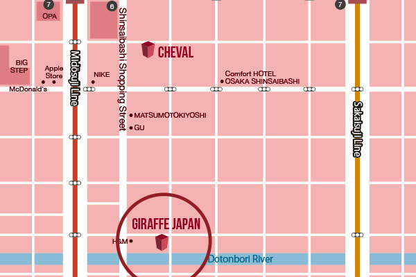 Giraffe Japan Map